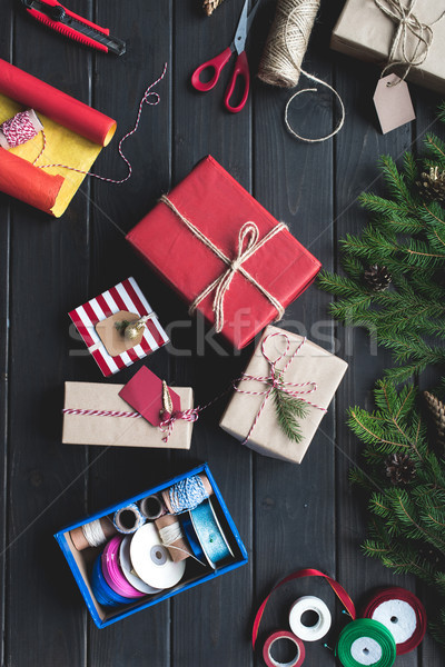 christmas gifts composition Stock photo © LightFieldStudios