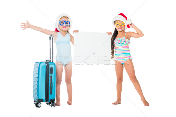 kids with suitcase and blank banner Stock photo © LightFieldStudios