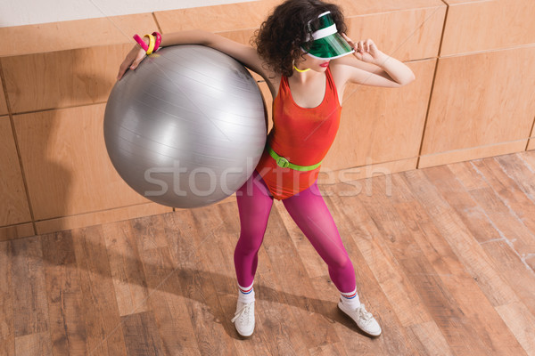 Stock photo: fashionable woman with fitness ball