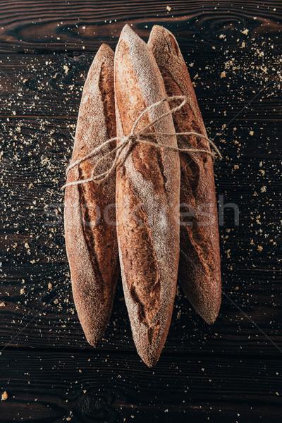 Top frans baguettes touw donkere Stockfoto © LightFieldStudios