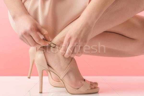 partial view of girl in pink heels, on pink Stock photo © LightFieldStudios