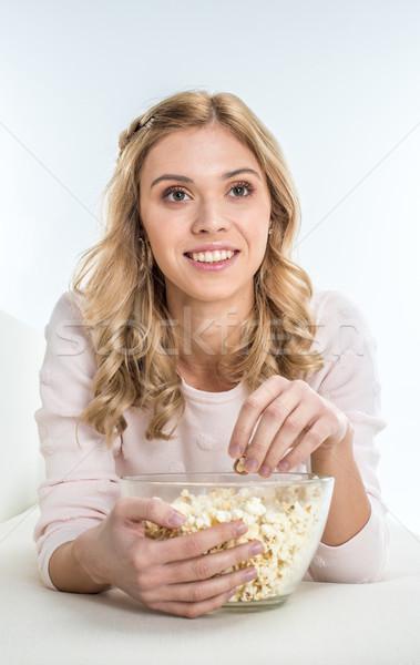笑顔の女性 食べ ポップコーン 笑みを浮かべて ガラス ストックフォト © LightFieldStudios
