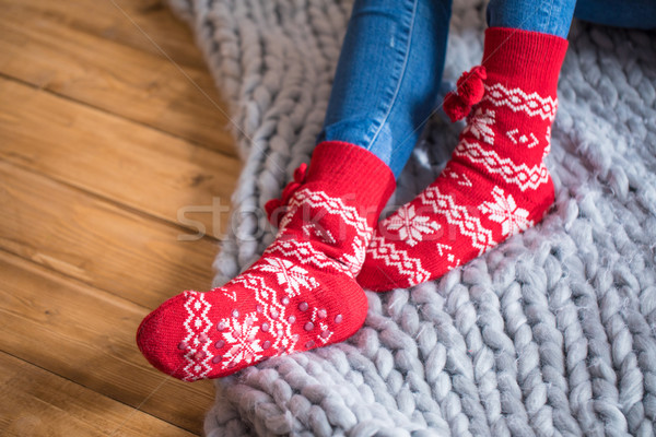 Vrouwelijke voeten sokken cute Rood witte Stockfoto © LightFieldStudios