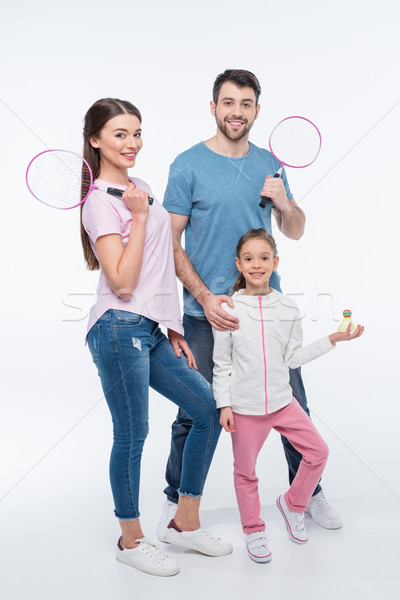 Souriant famille badminton blanche femme homme Photo stock © LightFieldStudios