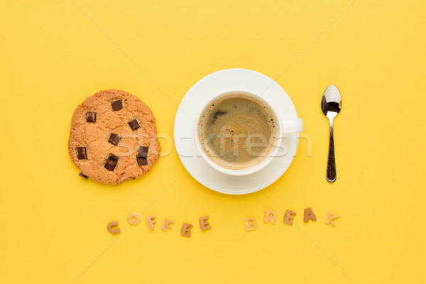 top view of cup of espresso coffee, chocolate cookie, spoon and coffee break lettering  Stock photo © LightFieldStudios