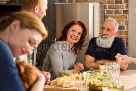 érzéki idős pár szelektív fókusz konyha otthon pár Stock fotó © LightFieldStudios