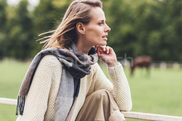 Stock foto: Stylish · Frau · Herbst · anziehend · lächelnd · Frühling