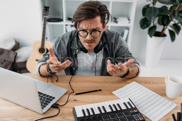 сердиться молодые музыканта депрессия новых проект Сток-фото © LightFieldStudios
