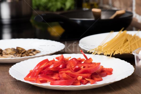Hozzávalók főzés vacsora szelektív fókusz tányérok étel Stock fotó © LightFieldStudios