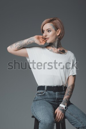 girl in stylish knitted sweater Stock photo © LightFieldStudios