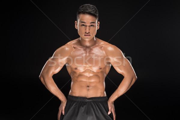 Sin camisa muscular Asia hombre guapo mirando Foto stock © LightFieldStudios