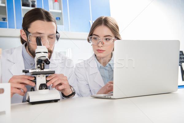 Iki bilim adamları çalışma genç laboratuvar mikroskop Stok fotoğraf © LightFieldStudios