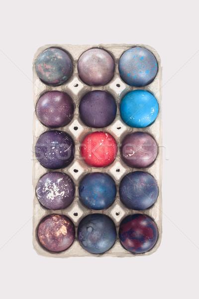Top Ansicht farbenreich Ostereier Fach isoliert Stock foto © LightFieldStudios