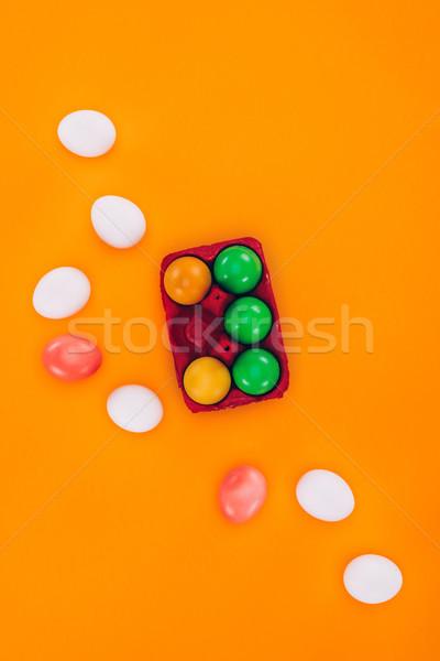 Top gekleurd paaseieren Rood ei Stockfoto © LightFieldStudios
