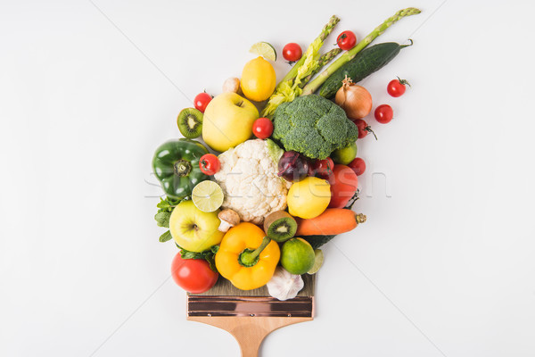 Farmers market concept with vegetables and fruits on brush isolated on white background Stock photo © LightFieldStudios