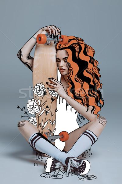 girl hugging longboard  Stock photo © LightFieldStudios