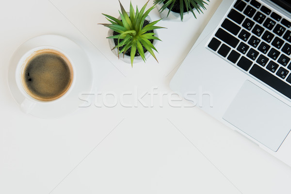 Top view of laptop with cup of coffee and plants on table top. laptop desk coffee Stock photo © LightFieldStudios