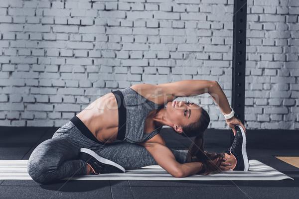 Stockfoto: Vrouw · jonge · opleiding · gymnasium · oefening
