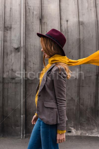 şık kız fötr şapka şapka güzel Stok fotoğraf © LightFieldStudios