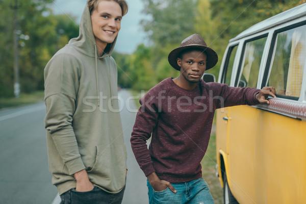 Több nemzetiségű férfiak áll mikrobusz boldog retro Stock fotó © LightFieldStudios