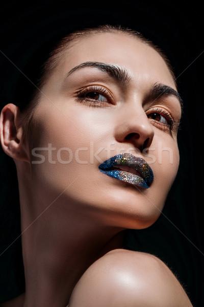 Jeune femme glitter lèvres portrait coup jeunes Photo stock © LightFieldStudios