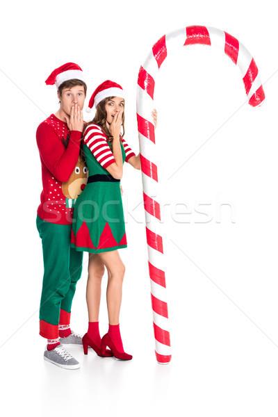 Paar christmas decoratief lolly zijaanzicht geïsoleerd Stockfoto © LightFieldStudios