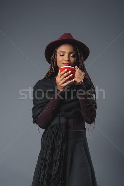 Meisje beker stijlvol jonge afro-amerikaanse Stockfoto © LightFieldStudios