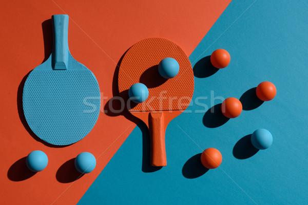Ping pong golyók felső kilátás lövés kettő Stock fotó © LightFieldStudios