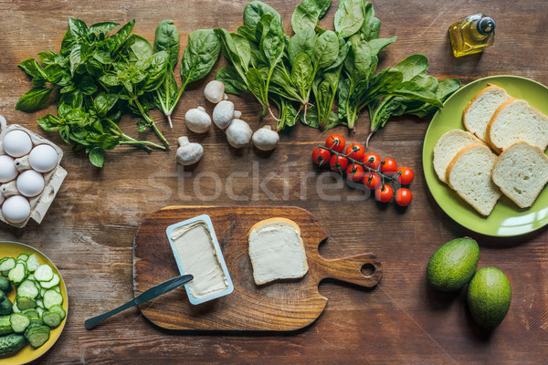 cream cheese and piece of bread Stock photo © LightFieldStudios