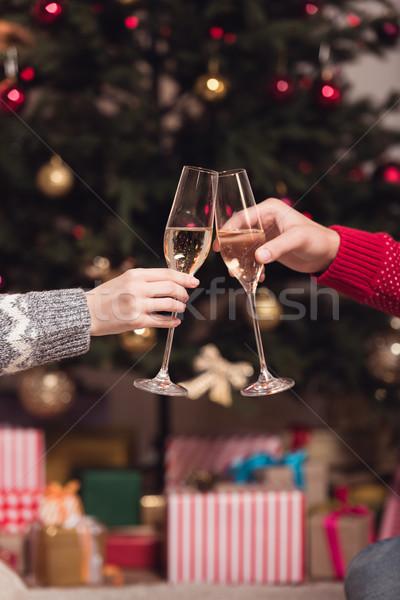 Paar drinken champagne shot bril partij Stockfoto © LightFieldStudios