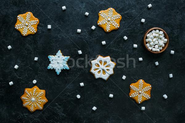 Photo stock: Pain · d'épice · flocons · de · neige · haut · vue · maison · Noël