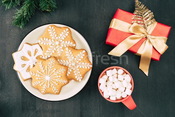 Рождества подарок горячий шоколад Cookies Top мнение Сток-фото © LightFieldStudios