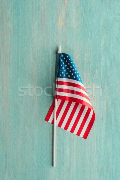 Felső kilátás amerikai zászló kék fából készült felület Stock fotó © LightFieldStudios