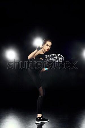 Női teniszező sziluett sport sportok szépség Stock fotó © LightFieldStudios