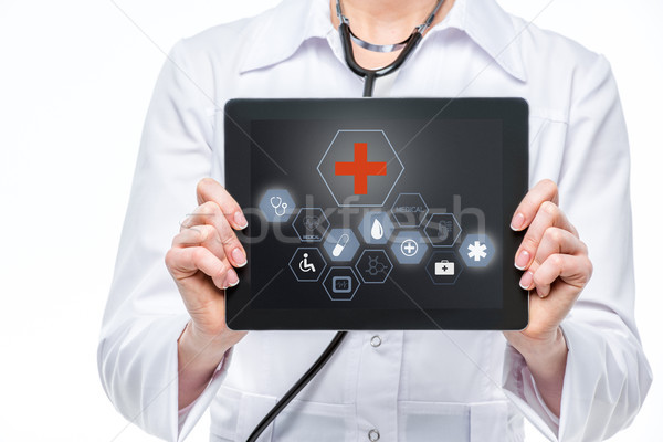 Médico digital tableta médicos iconos Screen Foto stock © LightFieldStudios