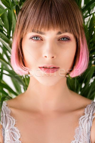 若い女性 ピンク 髪 肖像 小さな 魅力のある女性 ストックフォト © LightFieldStudios