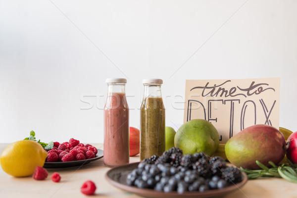 Detoxikáló italok bioélelmiszer közelkép kilátás idő Stock fotó © LightFieldStudios