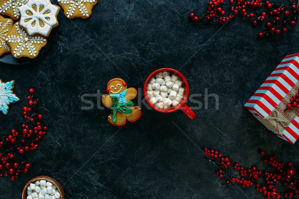 gingerbread man and marshmallows in cup Stock photo © LightFieldStudios