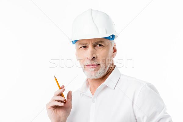 Stockfoto: Volwassen · mannelijke · architect · potlood