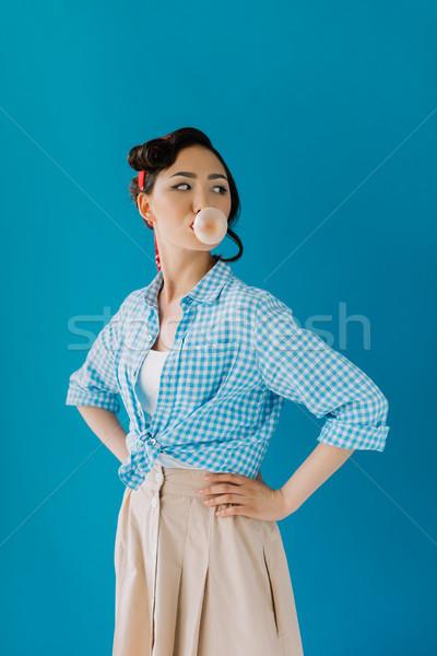 азиатских женщину пузыря камедь портрет Сток-фото © LightFieldStudios