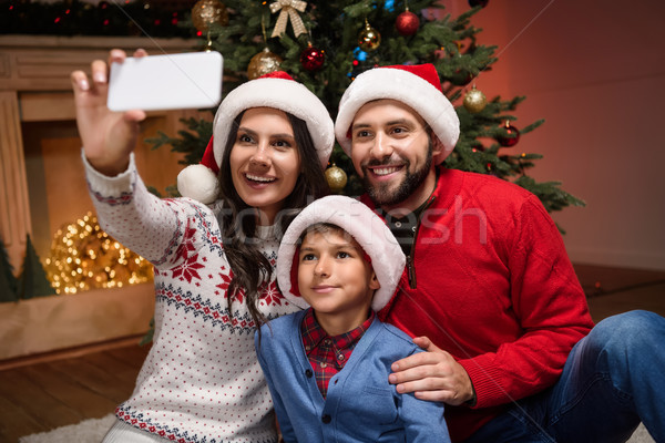ストックフォト: 家族 · クリスマス · 幸せ · 小さな · サンタクロース
