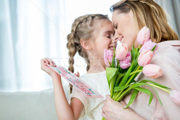 Feliz madre hija postal madres Foto stock © LightFieldStudios