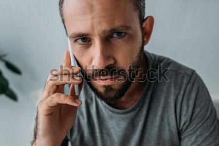Biznesmen palenia cygara w średnim wieku okulary dymu Zdjęcia stock © LightFieldStudios