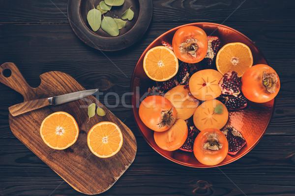 üst görmek kesmek portakal plakalar Stok fotoğraf © LightFieldStudios