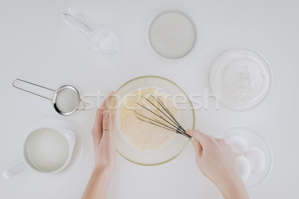partial top view of person cooking pancakes isolated on grey  Stock photo © LightFieldStudios