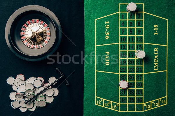 Gambling concept with chips and roulette on casino table Stock photo © LightFieldStudios