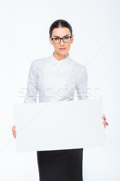 Femme d'affaires carte vierge jeunes blanche travaux Photo stock © LightFieldStudios