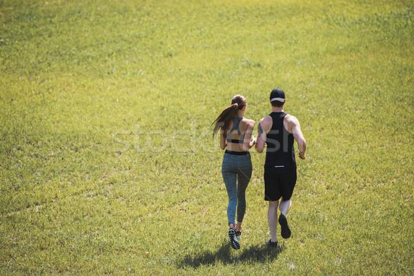 カップル ジョギング 公園 背面図 スポーツウェア 女性 ストックフォト © LightFieldStudios