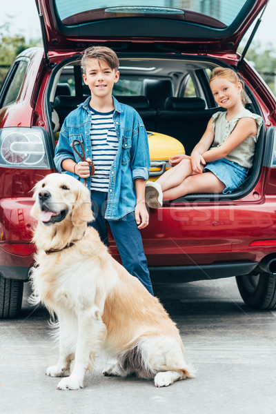 kids with dog in car trunk Stock photo © LightFieldStudios