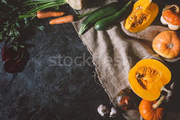 Stock photo: autumn vegetables on sackcloth